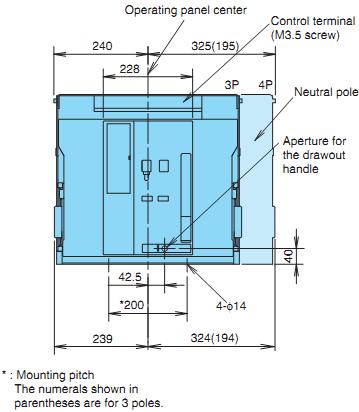 ACB Mitsubishi AE4000-SWA-4P-4000A-85kA Drawout
